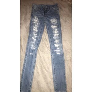 Distressed  American Eagle High Rise Jeggings